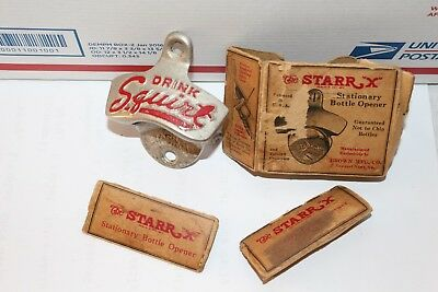 Vintage 1940's Squirt Soda Pop Machine Metal Bottle Opener Sign W/Box