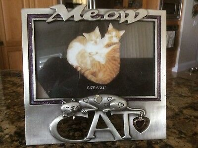 "Pewter Cat picture Frame - 4"" X 6"""
