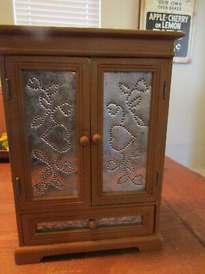 miniature Primitive Cabinet with Punched Tin Door Panels