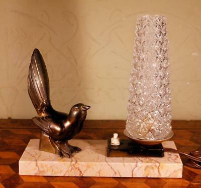 FAB Vintage French Art Deco Marble Table Lamp Light Spelter Bronze Bird & Shade