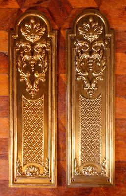 Pair Vintage French Brass Door Finger Scratch Push Plates Rococo Chateau Chic F