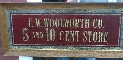 Vintage F.W. Woolworth Co. Five and ten cent store sign reverse painted on glass