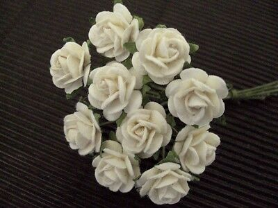 50 x 10mm IVORY Paper ROSES::: MINIATURE Floral craft supplies Cards Decorations