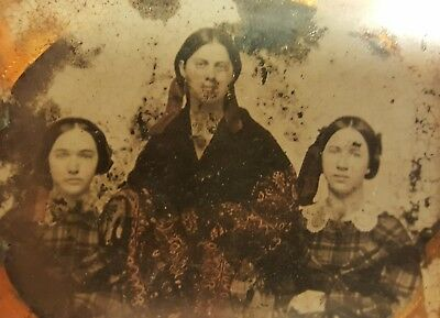 Antique American Artistic Three Graces Women Victorian Fashion Ambrotype Photo