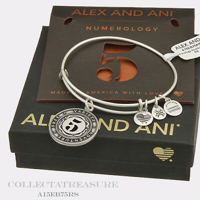 Authentic Alex and Ani Numerology Number 5 Rafaelian Silver Charm Bangle