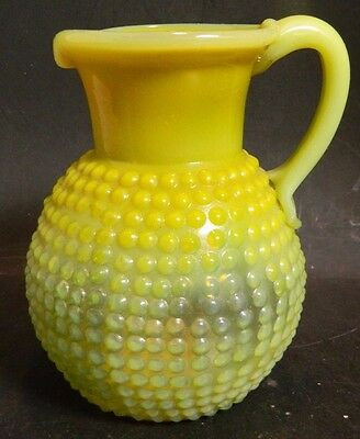 "Vintage Hand Blown Yellow Opalescent Hobnail Pitcher 5"" x 3.5"" Excellent Cond"