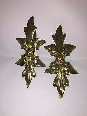 Vintage Brass Pair Matched Curtain Tie-back Wall Towel Hook Hangs Southern Style