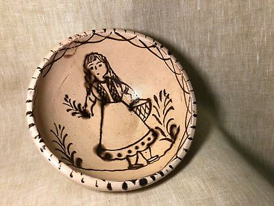"""*RARE* Old Vintage Folk Art TLAQUEPAQUE Mexican Pottery Hand Painted Bowl 6.5"""""""