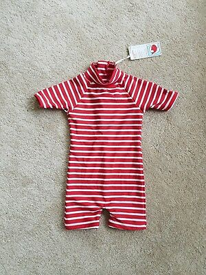 Unisex toddlers one piece swimsuit, Little Red Fish, size 12 months
