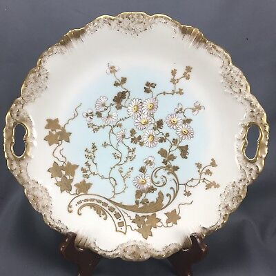 Hand Painted Lewis Struass & Sons Coiffe Limoges Pink Flowers & Gold Cake Plate
