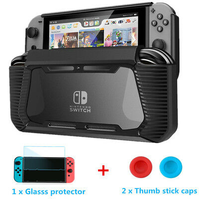 Rugged Rubberized Snap on Hard Cover TPU Hybrid Case Bundle for Nintendo Switch