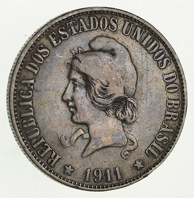 Roughly Size of Half Dollar - 1911 Brazil 2000 Reis World Silver Coin 20.1g *683
