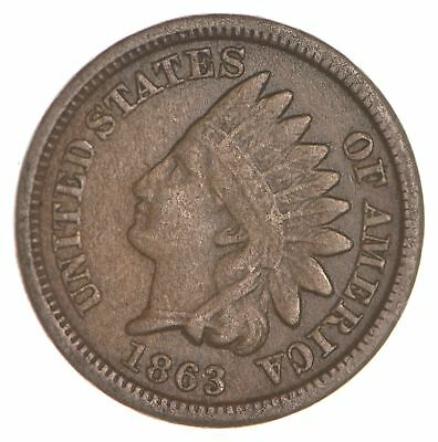 BETTER- 1863 Indian Head Cent Penny - Tough Coin *073