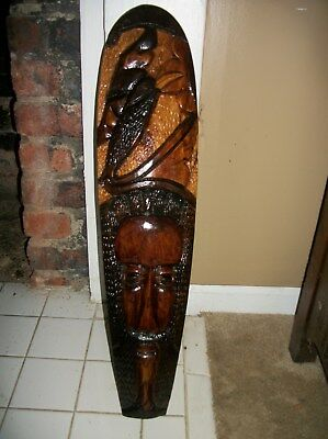 Vintage 1970s African Ethnic Hand Carved & Stained Wood Face