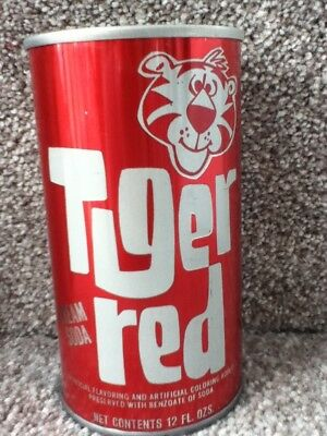 Tiger Red soda. Straight steel, pull top. No bar code or ml listed.Louisville,Ky