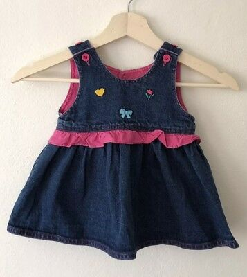Vintage Denim Dress With Embroidery - Size 12M