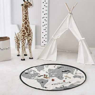 World Map Design Kids Play Mat Baby Nursery Round Area Rugs Baby Home Decoration
