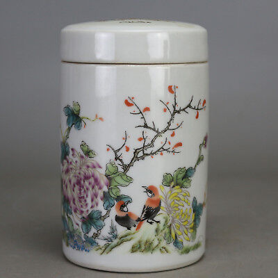 Chinese old porcelain famille rose bird & flower pattern tea caddy c02