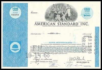1968 American Standard 100 Share Stock - Famous Throne Makers - WYSIWYG! VF+