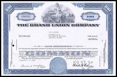1969 The Grand Union Company - Grocers to the NE - 100 Share Cert WYSIWYG! VF+