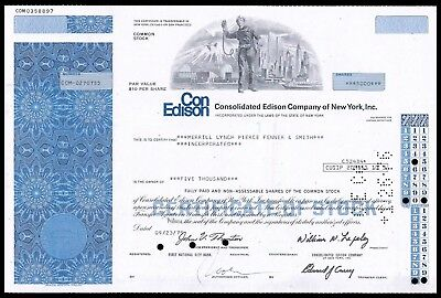 1975 Consolidated Edison 5,000 Share Stock Issued to Merrill Lynch WYSIWYG VG+