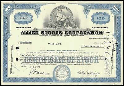 Allied Stores Corporation 100 Shares 1971 WYSIWYG! - VG