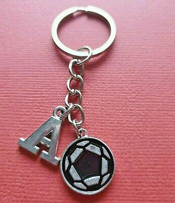 Soccer Ball Keyring and Initial Letter A to Z Keychain Football personalised