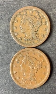 Lot of 2 1c Liberty Head Braided Hair Large Cents 1851 & 1855