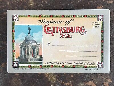 Vintage Souvenir of Gettysburg PA Civil War 25 Postcard Booklet Pub C A Blocher