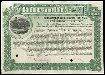 1903 Baltimore and Ohio RR B&O $1000 Gold Bond signed L.F. Loree G+ WYSIWYG