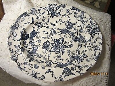 "Ravensdale Pottery Staffordshire England 11 1/2"" Platter, Exotic Birds, Blue"