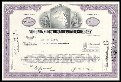 1973 Virginia Electric and Power (VEPCO) 100 Share Stock Certificate WYSIWYG VG+