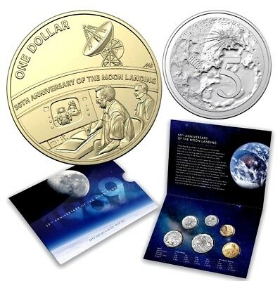 AUSTRALIA 2019 Uncirculated Set 50th Anniversary Moon Landing Special $1 & 5c