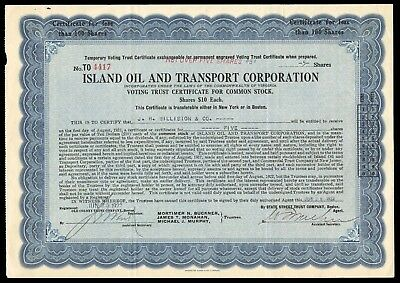 1922 Island Oil and Transport Company 5 Shares Temp Certificate WYSIWYG VG+