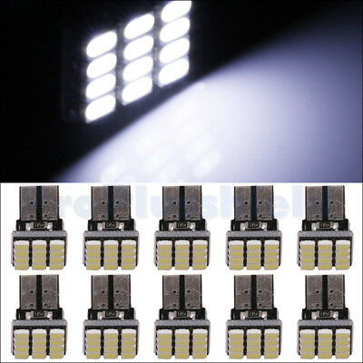 10pcs 1206 T10 12SMD W5W 2825 White Wedge LED Dome Map Interior License Light