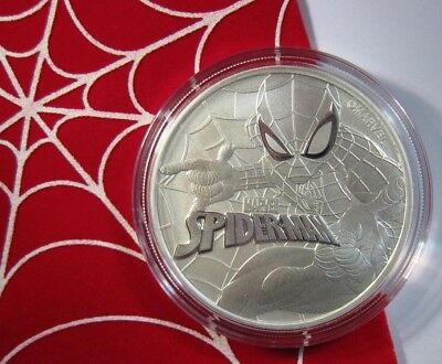 2017 SPIDERMAN - (MARVEL) .999 SILVER 1 oz coin BU TUVALU 1$ 50,000 Mintage