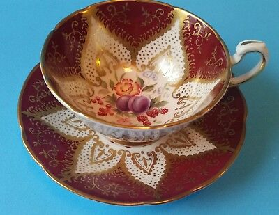 Beautiful Paragon Fruit Tea Cup and Saucer - Red and Gold