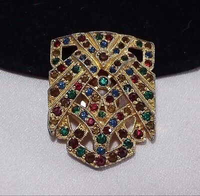 Vintage Gold Multi Colored Fruit Salad Rhinestone Art Deco Mink Fur Clip