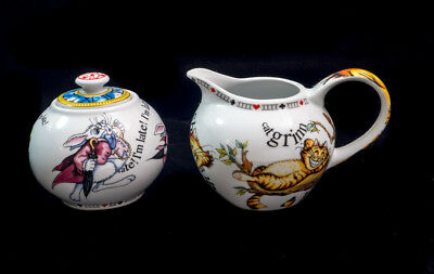 Cardew Alice In Wonderland 150Th Anniversary Creamer And Sugar With Lid & Boxes