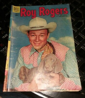Roy rogers Comics #90 photo puppy cover 1955 dell golden age western lot movie