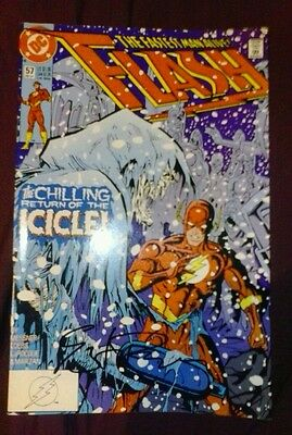 The flash 57 signed greg larocque coa tv show wally west vintage rare key comic