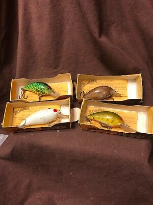 Vintage Lot Of Four Bomber Diving Fishing Lures New In Original Boxes Lot A