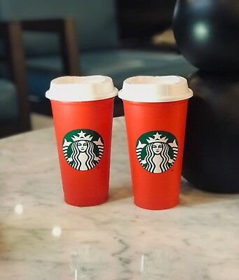 2 Starbucks Red Reusable 16oz XMAS Holiday Cups 2018 with DRINK DISCOUNT!