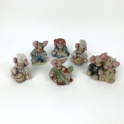 Enesco This Little Piggy Lot of 6 Pig Figurines Collectibles