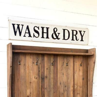 WASH & DRY White Metal Embossed Vintage Look Laundry Room Sign Fixer Upper Style