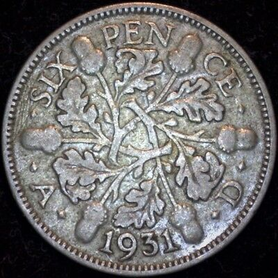 1931 Great Britain Sixpence Silver Coin  Free Shipping
