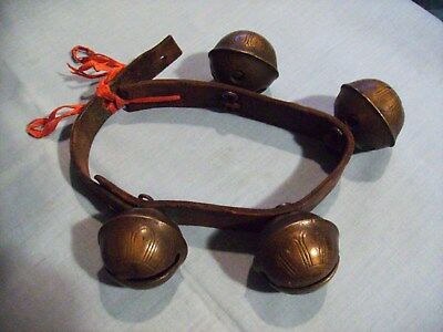 Lot Of 4 Antique Number 8 Sleigh Bells On A Leather Strap