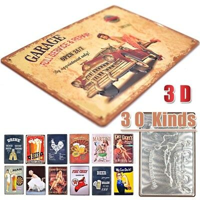 3D Vintage Tin Metal Garage Sign Bar Beer Cafe Wall Plaque Decor Man Cave