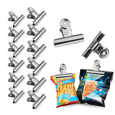 Stainless Steel Large Durable Metal Food Bag Sealing Clips Chip Clip 12pcs AU