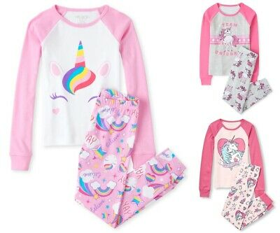 NWT The Childrens Place Unicorn One of a Kind Pink Girl Long Sleeve Pajamas Set